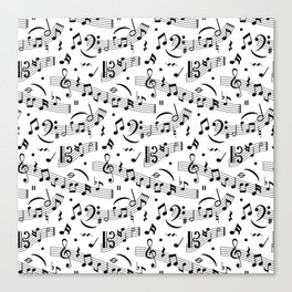 Doodle pattern with hand drawn music notes. Canvas Print