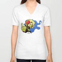 rock n roll V-neck T-shirts featuring Rock n' Roll Skull by Vida Graffiti