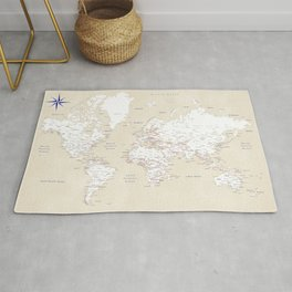 """Cream, white, red and navy blue world map, """"Deuce"""" Rug"""