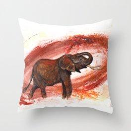 African Elephant Having a Mud Shower Throw Pillow