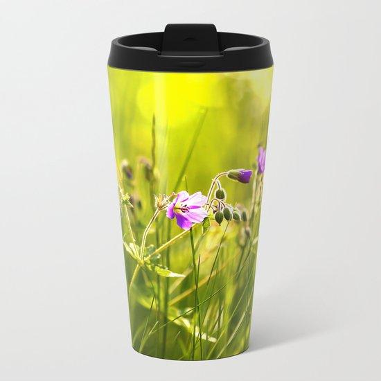 Beautiful meadow flowers - geranium on a sunny day - brilliant bright colors Metal Travel Mug