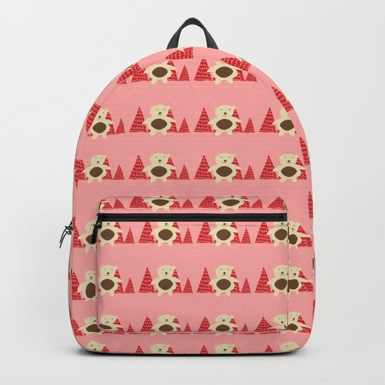 Christmas polar bear pink Backpack