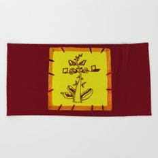 tree with a computer , telephone and other device Beach Towel