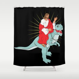 Jesus Riding A Dinosaurs Rex Gift Shower Curtain