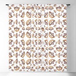 Queen of Hearts gold crown tiara scattered pattern by Kristie Hubler with white background Blackout Curtain