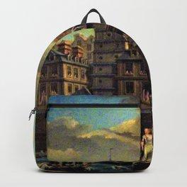 18th Century Paris, France along the River Seine by Jean Baptiste Nicolas Raguenet Backpack