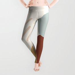 Midcentury Abstract Shapes Beige Ochre Brown Leggings