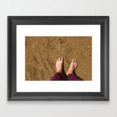 Barefoot on beach (UK) Framed Art Print