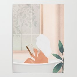 Reading Girl in Bathtub Poster