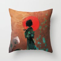 japan Throw Pillows featuring Japan by Ludovic Jacqz