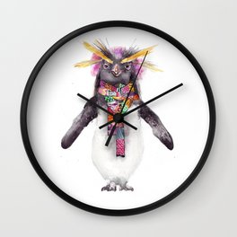 Penguin in a scarf (female) Wall Clock