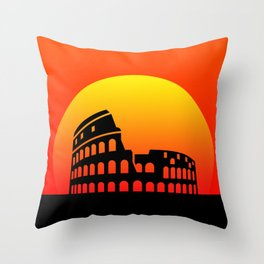 Sunset and colosseum in a red sky Throw Pillow