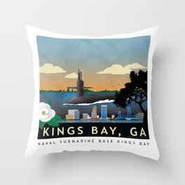 Kings Bay, GA - Retro Submarine Travel Poster Throw Pillow