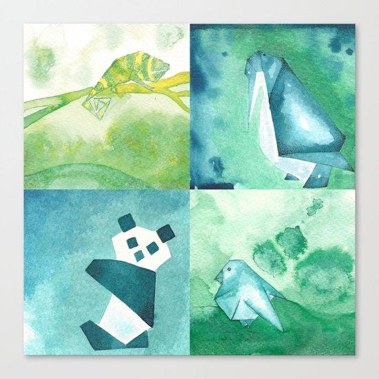 Chameleon, Bird, Penguin and Panda Bear Canvas Print