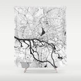Hamburg City Map Gray Shower Curtain