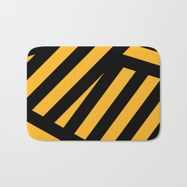 Black and yellow abstract striped Bath Mat