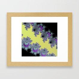 Asymmetrical Fractal in Yellow, Black and Purple Framed Art Print