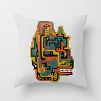 foo fighters Throw Pillows featuring Foo Dog by dAM 11