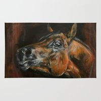 arab Area & Throw Rugs featuring arab horses face by Ironia Art
