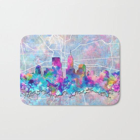 indianapolis city skyline watercolor 2 Bath Mat