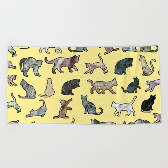 Cats shaped Marble - Sun Yellow Beach Towel