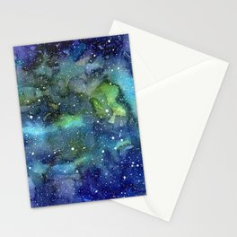 Space Galaxy Blue Green Watercolor Nebula Painting Stationery Cards