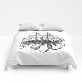 Octopus Attacks Ship on White Background Comforters