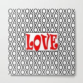 LOVE XOs Valentine Typography Digital Illustration, Modern Artwork Metal Print