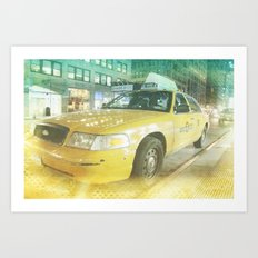 New York Taxi at midnight Art Print