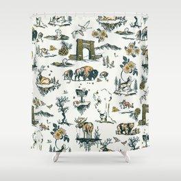 Yellowstone National Park Travel Pattern Design Shower Curtain