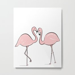 Flamingo Lovers Metal Print