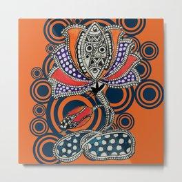 Madhubani - Lotus Fish 1 Metal Print