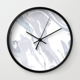 Navy Marble Waves Wall Clock