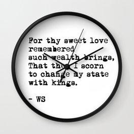 Sonnet 29 - Love Sonnet on white Wall Clock