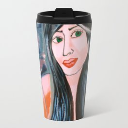 Lost..The Mystery girl: Acrylic Painting of a woman Travel Mug