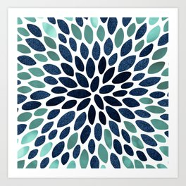 Flower Bloom, Aqua and Navy Art Print
