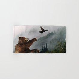 The Trickster - Raven & Grizzly Bear Art Print Hand & Bath Towel