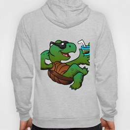 Cartoon Turtle Drinking Cocktail. Hoody