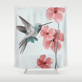 Hummingbird with Hibiscus Shower Curtain