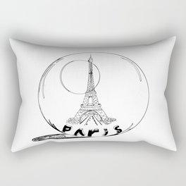 paris in a glass ball . Black-and-white . Artwork . Rectangular Pillow