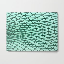 Turquoise Grid Metal Print