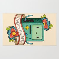 bmo Area & Throw Rugs featuring BMO | CHECK PLEASE by Daniel Mackey