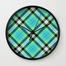 Blue Green Plaid Wall Clock