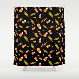 Colorful lime green orange purple Halloween candy Shower Curtain