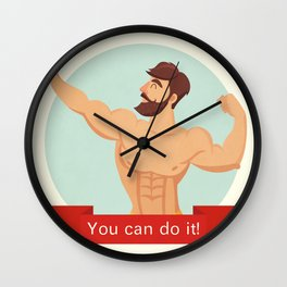 You can do it motivational and inspirational poster. Gym, bodybuilding, concept image, beard Wall Clock