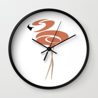 flamingo Wall Clocks featuring Flamingo by Red Coat Studio Design