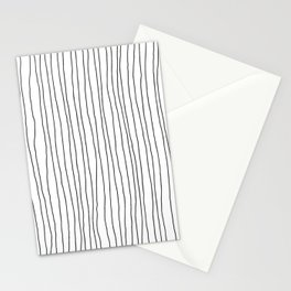 Hand Drawn Lines Vertical White Dark Gray Stationery Cards