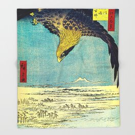Hiroshige, Hawk Flight Over Field Throw Blanket