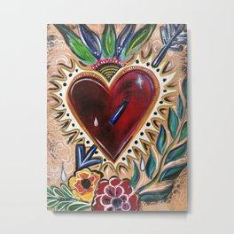 """Sacred Heart"" Floral Heart Art Metal Print"