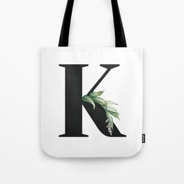 Letter K Initial Floral Monogram Black And White Poster Tote Bag